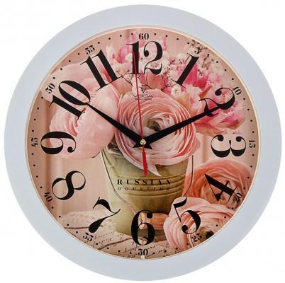 Часы Вега П1-7/7-274 Нежные розы белый рисунок