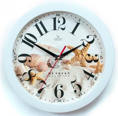 Часы настенные Вега П1-7/7-275 Морские белый рисунок часы настенные вега п1 7 7 5 белый рисунок