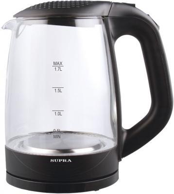 Чайник Supra KES-2008 2200 Вт чёрный 1.7 л стекло чайник supra kes 2009 2200 вт 1 8 л пластик стекло чёрный