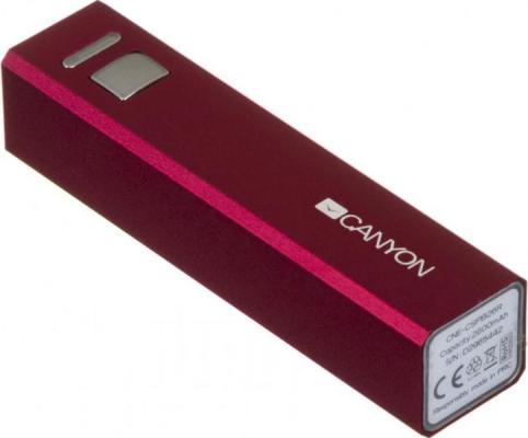 Портативное зарядное устройство Canyon CNE-CSPB26R 2600мАч красный портативное зарядное устройство canyon cne cpb100w 10000мач белый