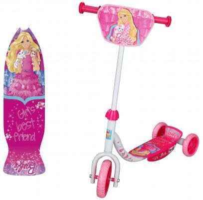 Купить Самокат 1TOY Barbie 6 /4 розовый, Трехколесные самокаты для детей