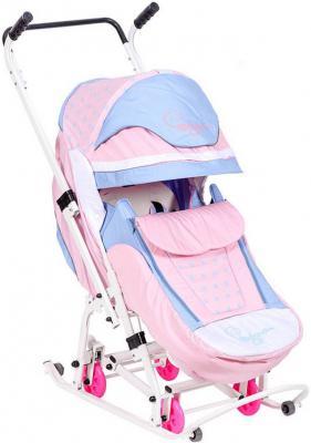 Санки-коляска Санки Снегокаты RT Скользяшки, Мозаика до 45 кг розовый голубой белый пластик металл ткань 0919-Р14