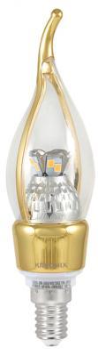 Лампа светодиодная E14 5W 3000K свеча на ветру прозрачная CRL-CA35-5W-E14-CL/WW-GOLD 8307 светодиодная лампа light star led 220v ca35 e14 940644
