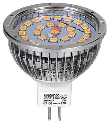 Лампа светодиодная полусфера Kreonix Aluminium JCDR GU5.3 6W 3000K ALM-JCDR-6W-GU5,3-CL/WW 4804