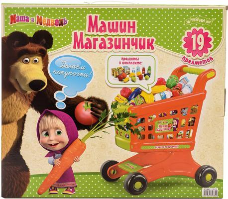 Игровой набор Маша и медведь Фрукты и овощи с тележкой 44937 19 предметов 44937