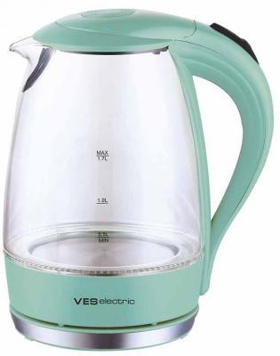 Чайник VES Electric VES2006-M 2200 Вт зелёный прозрачный 1.7 л пластик/стекло чайник orion чэ с02 1 7л 2200 вт серый прозрачный 1 7 л пластик стекло
