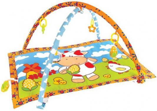 "Коврик Жирафики развивающий ""Коровка Муу и кукурузка"" с 5-ю развивающими игрушками и пищалкой"