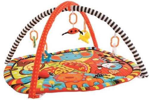 "цена на Коврик Жирафики развивающий ""Ушастики"" с 6-ю развивающими игрушками, шуршалкой и пищалкой 939353"