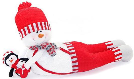 Кукла Новогодняя сказка Снеговик-весельчак красный 66 см 1 шт текстиль