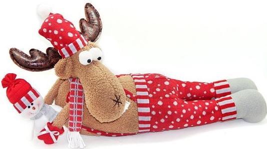 Кукла Новогодняя сказка Олень-весельчак красный 66 см 1 шт текстиль 972412 мягкая игрушка олень 23 см