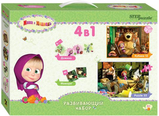 Настольная игра Step Puzzle пазлы 4 в 1 Маша и Медведь