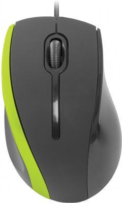 Мышь проводная DEFENDER MM-340 чёрный зелёный USB 52346