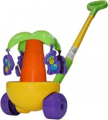 Каталка на палочке Полесье Пальма пластик от 1 года с ручкой разноцветный 7918 полесье полесье каталка mig скутер