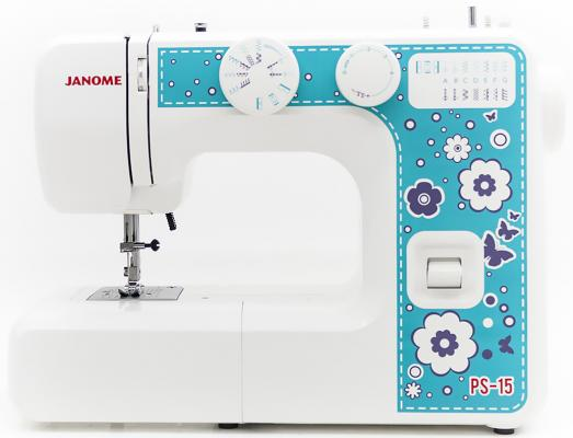 Швейная машина Janome PS-15 белый голубой цена и фото