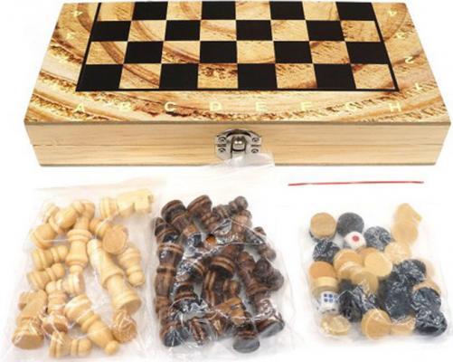 Настольная игра Shantou Gepai логическая 3 в 1 Шахматы, шашки, нарды, поле 29,5х29,5см настольная игра логическая 3 в 1 шахматы шашки нарды магнитные 3704c