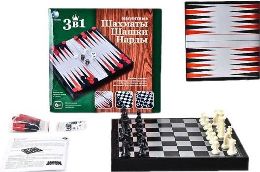 Настольная игра логическая 3 в 1 Шахматы, шашки, нарды магнитные 6921073726069