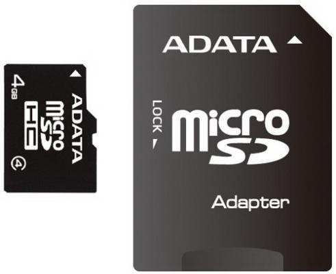 Карта памяти Micro SDHC 4Gb Class 10 A-Data AUSDH4GCL4-RA1 + адаптер SD