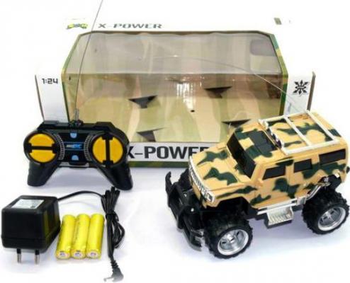Машинка на радиоуправлении Shantou Gepai Джип 1:24, аккум., 4 канала пластик от 3 лет камуфляж машинка на радиоуправлении shantou gepai от 6 лет ассортимент пластик 1 16 4 канала 635367