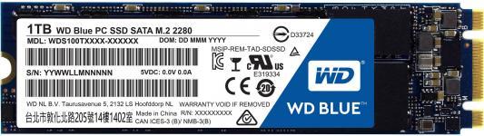 Твердотельный накопитель SSD M.2 1Tb Western Digital Blue Read 545Mb/s Write 525Mb/s SATAIII WDS100T1B0B твердотельный накопитель ssd m 2 64gb transcend mts600 read 560mb s write 310mb s sataiii ts64gmts600