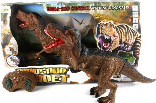 Интерактивная игрушка Shantou Gepai Динозавр на радиоуправлении свет, звук от 3 лет коричневый