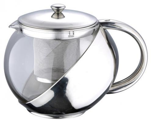Чайник заварочный Wellberg WB-6874 серебристый прозрачный 0.8 л металл/стекло WB-6874