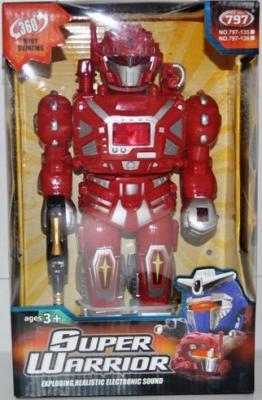Боевой робот Shantou Gepai Super Warrior 27 см двигающийся со звуком светящийся в ассортименте 797-135/136