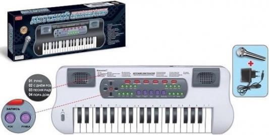 Купить Синтезатор Shantou Gepai с микрофоном, 37 клавиш ZYB-B0689-2, белый, Детские музыкальные инструменты