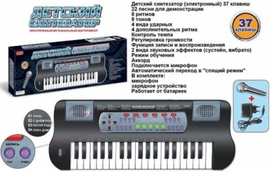 Синтезатор Shantou Gepai 37 клавиш, микрофон, запись, тоны, ритмы, черный ZYB-B0689-1
