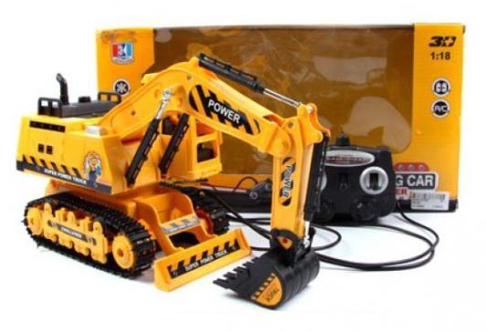 Экскаватор на радиоуправлении Shantou Gepai 941682 пластик от 3 лет оранжевый