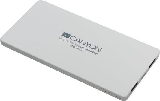 Портативное зарядное устройство Canyon CNS-TPBP5W 5000мАч белый аккумулятор canyon power bank 5000mah white h2cnstpbp5w cns tpbp5w