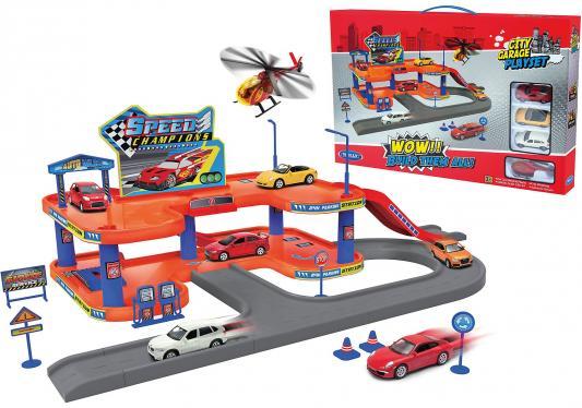 Игровой набор Гараж Welly включает 4 машины и вертолет