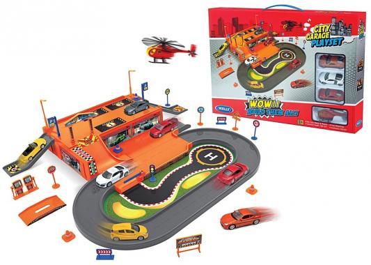 Игровой набор Гараж Welly включает 3 машины и вертолет 96030