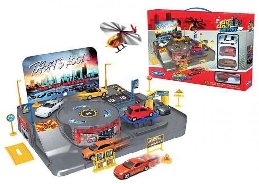 Игровой набор Гараж Welly включает 3 машины и вертолет 96010 welly welly набор служба спасения пожарная команда 4 штуки