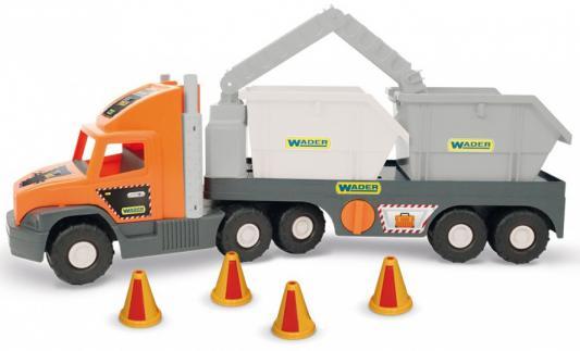 Грузовик Wader Super Tech Truck разноцветный 78 см со строительными контейнерами