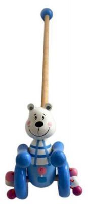 Каталка на палочке Mapacha Мишаня дерево от 1 года с ручкой синий  76638