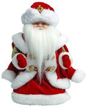"""Дед Мороз Новогодняя сказка в красном 30 см, мех., муз., песня """"В лесу родилась елочка"""" 972607 подсвечники русские подарки подсвечник новогодняя сказка"""