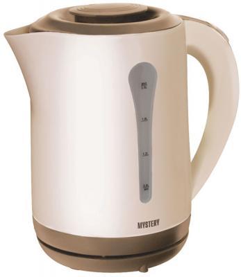 Чайник MYSTERY MEK-1638 1800 Вт бежевый коричневый 2.5 л пластик чайник mystery mek 1601 1800 вт серебристый чёрный 1 7 л нержавеющая сталь