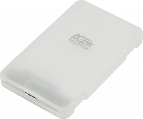 Внешний контейнер для HDD 2.5 SATA AgeStar 3UBCP3 USB3.1 алюминий белый внешний контейнер для hdd 2 5 sata agestar 31ubcp3 usb3 1 пластик белый