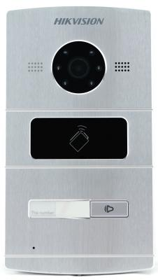 Вызывная панель Hikvision DS-KV8102-IM серебристый includes mounting box hikvision ds kv8102 1a ds kv8102 im visual intercom doorbell waterproof ic card ip intercom