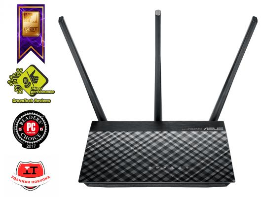 Беспроводной маршрутизатор ASUS RT-AC53 802.11aс 750Mbps 5 ГГц 2.4 ГГц 2xLAN черный маршрутизатор asus rt n66w 802 11abgn 900mbps 5 ггц 2 4 ггц 4xlan usb3 0 белый