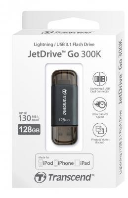 Флешка USB 128Gb Transcend JetDrive Go 300 TS128GJDG300K черный карта памяти 128gb transcend jetdrive lite 130 ts128gjdl130 для macbook air 13 l10 e14
