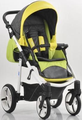 Прогулочная коляска Mr Sandman Traveler Premium (салатовый-графит в принт/желтый/SL09) коляска прогулочная mr sandman traveler premium бирюзовый графит в принт бирюзовый kmstp 0610sl08