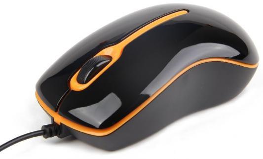 Мышь проводная Gembird MUS-U-004-O чёрный оранжевый USB