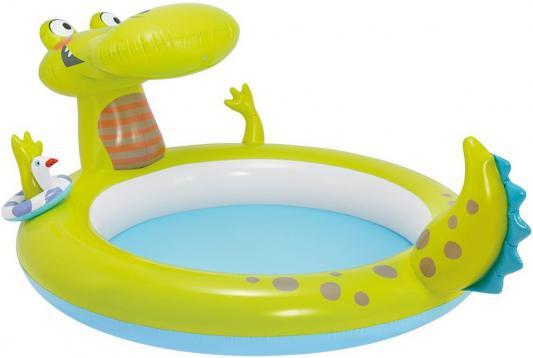 Надувной бассейн Intex Кроко, с разбрызгивателем 198х160х91 см 57431 intex бассейн детский радуга малый 91 23 см intex
