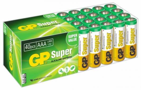 Батарейки GP Super Alkaline 24A LR03 AAA AAA 40 шт GP24A-B40 20 pcs brand new aaa alkaline battery 1 5 v rechargeable aaa battery for remote control toy baterie light free shipping