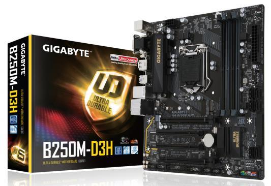 Мат. плата для ПК GigaByte GA-B250M-D3H Socket 1151 B250 4xDDR4 2xPCI-E 16x 2xPCI 6xSATAIII mATX Retail
