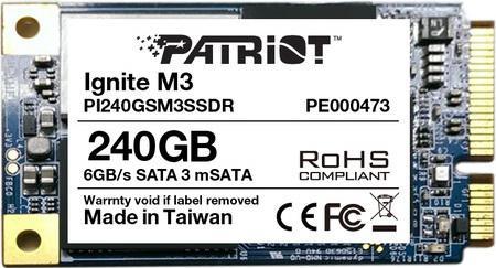 Твердотельный накопитель mSATA 240GB Patriot Ignite M3 Read 560Mb/s Write 400Mb/s SATAIII PI240GSM3SSDR