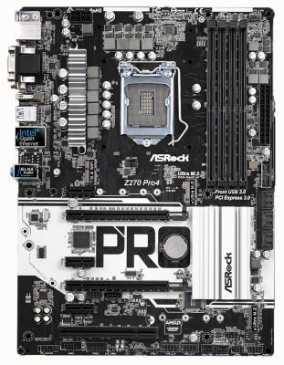 Мат. плата для ПК ASRock Z270 PRO4 Socket 1151 Z270 4xDDR4 2xPCI-E 16x 1xPCI 3xPCI-E 1x 6xSATAIII ATX Retail