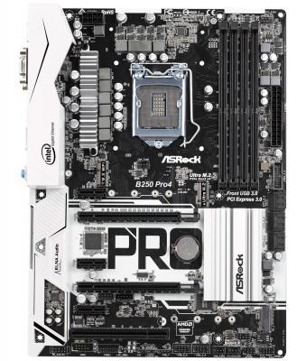 Мат. плата для ПК ASRock B250 PRO4 Socket 1151 B250 4xDDR4 2xPCI-E 16x 1xPCI 3xPCI-E 1x 6xSATAIII ATX Retail