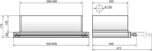 Вытяжка встраиваемая Elikor Интегра 60П-400-В2Л антрацит рейлинг бронза